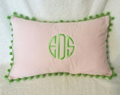 "Monogrammed Pink Gingham Pillow Cover 18 x 12"" Pom Poms Boutique Preppy"