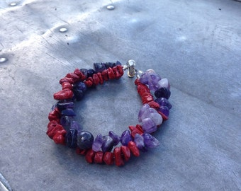 Amethyst and red bamboo coral twist bracelet