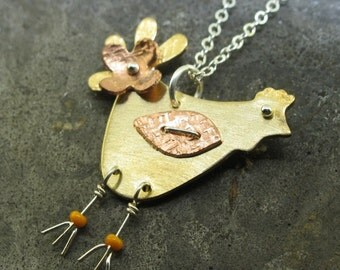 Chicken Necklace - in copper, sterling silver, and brass - by Kathryn Riechert