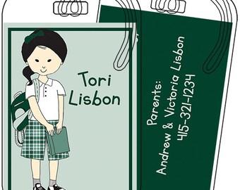 Uniform Girl- Green Plaid Shorts- Luggage or Backpack Tag- Custom