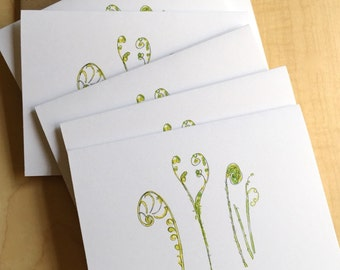 Watercolor Blank Note Cards - Fiddlehead Fern Cards - Fern Note Cards - Botanical Note Cards - Set of 6