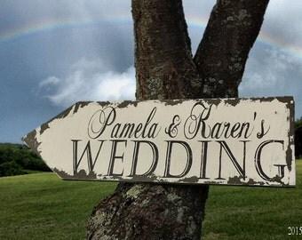 Wedding Arrow Sign. Custom Name Sign. Outdoor Wedding Signs. Wedding Signs. Wedding Ceremony Decor. Distressed Signs. Custom Signs.