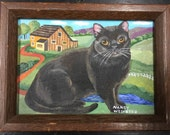 Original Black Cat Portrait Charming