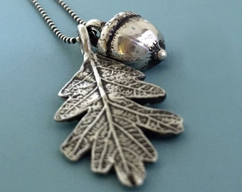 Sterling Silver Acorn and Oak Leaf Necklace  Free Shipping