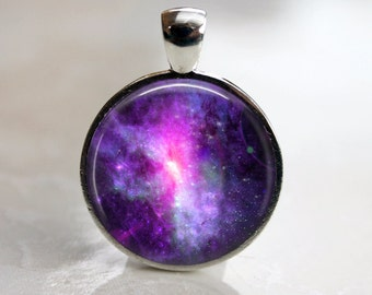 Dwarf Galaxy - Purple and Pink Space -  Pendant Necklace or Key Chain - Choice of 4 Bezel Colors