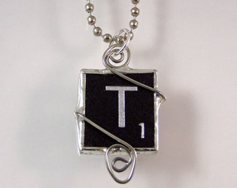 Black Letter T Scrabble Pendant Necklace