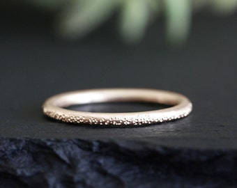 stardust 14k rose gold wedding ring, solid recycled gold band, eco friendly, yellow gold, rose gold, white gold, handmade