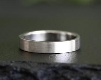 14k white gold brushed band, wedding band, groom, bride, unisex, eco friendly wedding ring, recycled metals
