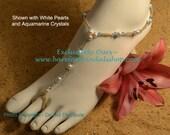 Swarovski Crystal and Pearl Beach Wedding Barefoot Sandals