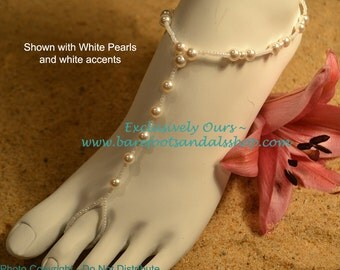 Sale! Bridal Pearl Beach Wedding Barefoot Sandals