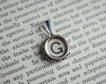 Initial TYPEWRITER Key PENDANT Letter G Black or Light Jewelry Vintage Unique Gift