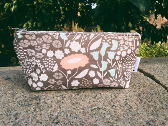 Morning Song Gray Makeup Bag, Cosmetic Bag, Makeup Pouch, Floral Pouch, Beauty Bag