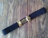 Vintage 1960s Leather Belt Black Suede Brass Buckle Cupid 26 Waist 2015325