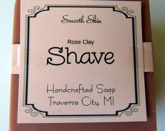 Rose Clay Shave Cold Process Soap Shaving Soap All Natural Handmade