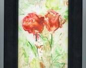 Encaustic art, beeswax art, abstract flowers in shades of coral,  framed artwork, encaustic flowers