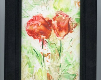 Encaustic art, beeswax art, abstract flowers in shades of coral,  framed artwork, encaustic flowers