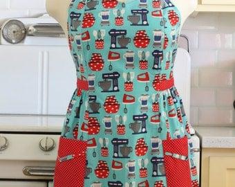 Retro Apron Plus Size Sweetheart Neckline Baking Theme in Aqua BETTY