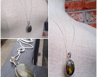 Midnight Prophecies - gorgeous sterling Silver flashy labradorite gemstone necklace