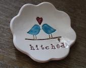 Valentine's Day Gift Love Bird Ring Bowl Ring Dish Hitched Ceramic Jewelry Dish Trinket Dish