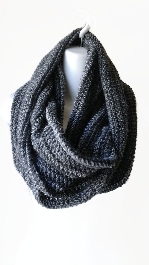 lightweight black grey circle scarf infinity scarf charcoal