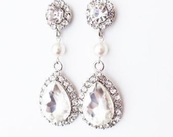 Bridal Earrings, Wedding Earrings, Crystal Earrings, Statement Wedding Jewelry, Long Earrings, Pearl & Crystal Bridal Jewelry, Orianne