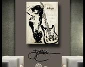 Original Abstract painting Modern Home Decor HUGE Canvas Wall Art rock guitar woman by Fidostudio