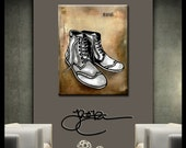 Abstract art painting Modern pop original large Shoes Canvas Print by Fidostudio