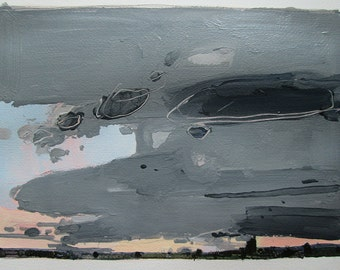 North Sky, Dusk, August 15, Original Lanscape Painting on Paper, Stooshinoff