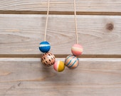 READY TO SHIP Hand Painted Wooden Bead Necklace in Evening Breeze,  Anna Joyce, Portland, Or.