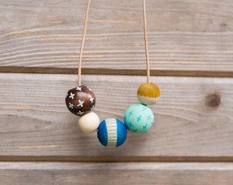 Hand Painted Wooden Bead Necklace in Playa Azul,  Anna Joyce, Portland, OR.