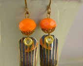 Orange Crush - Vintage Hand Cut Blue Stripe and Orange Tin  Recycled Repurposed Jewelry Earrings - Ten Year Anniversary Gift