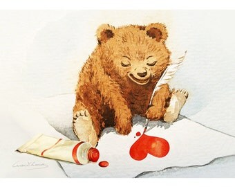 "Baby Bear Print - Watercolor ""heart"" - 5 by 7 print - Archival Print - Home Decor - Valentine Art"