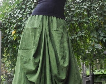 Green Linen and Cotton Skirt