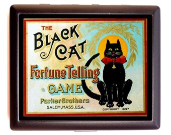 Black Cat Fortune Telling Game Cigarette Case Business Card Holder Wallet Victorian Board Game Box  Illustration 1897