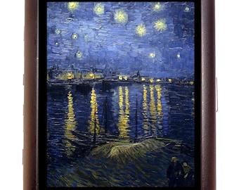 Starry Night Over Rhone Cigarette Case Business Card Wallet MP3 Holder Vincent Van Gogh Fine Art Painting Impressionist Impressionism
