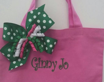 Boutique-Personalized-Monogrammed-Pink & Green-Girls Purse-Tote Bag