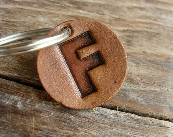 Letter Initial Keychain Personalized on a Small Leather Tag