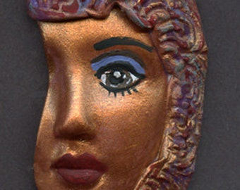 Polymer Clay Profile One of a kind textured Abstract   Face Shard BRZSH