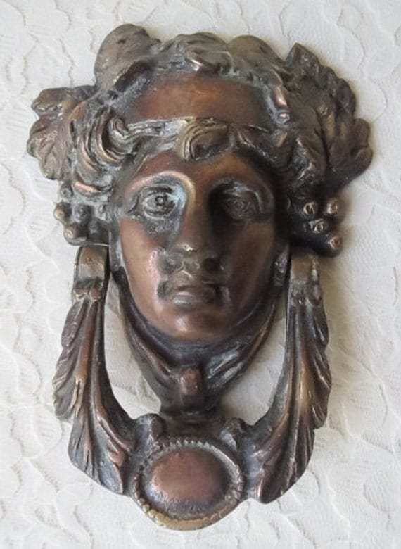 Vintage Brass Door Knocker Woman S Face With Leaves
