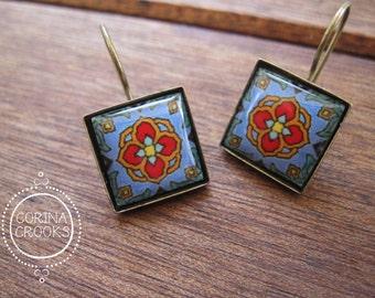 California Jewelry, Earrings, Catalina Island tile design, Boho jewelry, travel fashion, Beach earrings, Antique Brass, Colorful