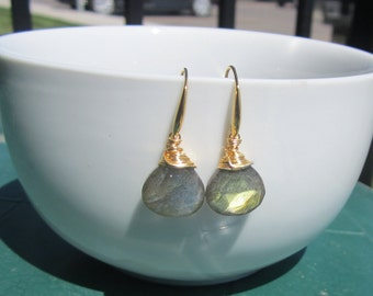 Labradorite Wire Wrapped Earrings, Labradorite Jewelry, Faceted Briolettes, Gold, Under 50,