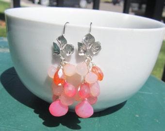 Chalcedony Cluster Earrings, Pink and Orange Earrings, Gemstone Earrings, Matte Silver, Under 50,