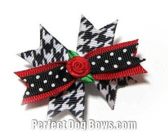 Black Houndstooth Dog Bow Grosgrain Ribbon with Flower