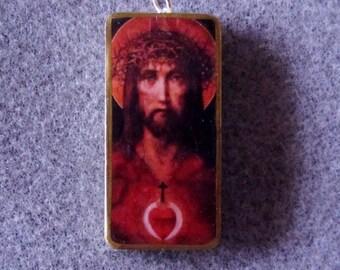 Jesus Sacred Heart Catholic Christian Art Recycled Domino Pendant Necklace SH1
