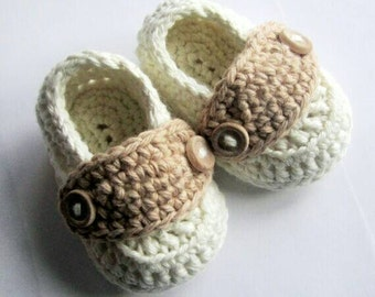 Crochet Baby Booties Cotton Little Button Loafers size Newborn 1 Pair Available and Ready to Ship