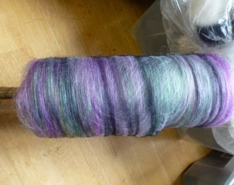 Lily Ponz Hand Dyed Half Batt Wool with Silk  and Alpaca for Spinning or Felting