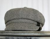 Newsboy Cap- Womens Newsboy Hat- Womens Hat - Gray and Ivory Wool Hat Womens Hat Trendy - Womens Caps - Winter Hat - Gray Hat