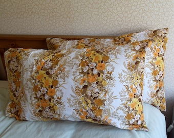 Vintage Pair of Pillowcases - Lemon and Brown Flowers - Pristine Condition - As New