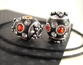 REDUCED Price, 4 Black Polymer Clay Kashmiri Beads,15mm, Barrel Beads, Orange Rhinestone Jewelry Beads, Custom Made India Beads KS22