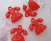 10 pcs. vintage orange red plastic telephone charms gum ball machine prizes from Hong Kong 22x16mm - r262
